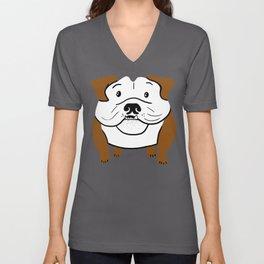 Galaxy Bulldog - Brown Unisex V-Neck