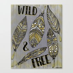 Wild & Free Feathers. Yellow & Grey Edition Canvas Print