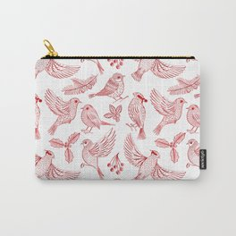 Winter Birds and Foliage Pattern (Red) Carry-All Pouch