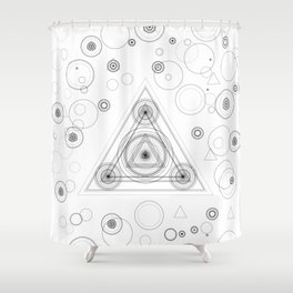 Occult triangle design with alchemy elements Shower Curtain