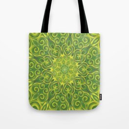 green center swirl mandala Tote Bag