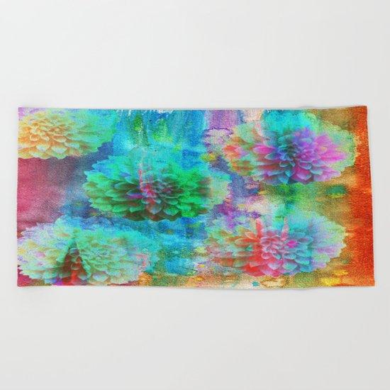 Colorful Dahlias Q Beach Towel