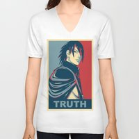 sasuke V-neck T-shirts featuring Sasuke - Truth by KingSora