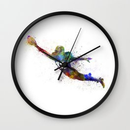american football player scoring touchdown Wall Clock