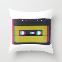 cassette Throw Pillows featuring Cassette by Michal
