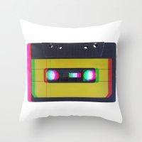 cassette Throw Pillows featuring Cassette by Michal