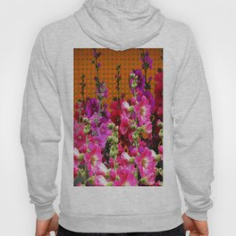 SPICE BROWN  PINK HOLLYHOCKS GARDEN Hoody