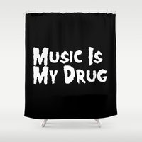misfits Shower Curtains featuring Music Is My Drug by Poppo Inc.