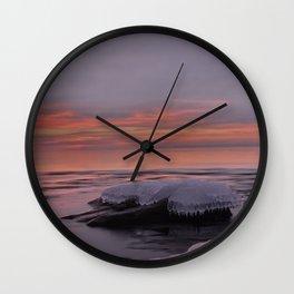 Icy Watercolor Sunrise Wall Clock