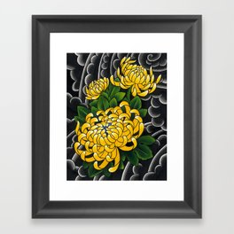 Japanese tattoo style sumi ink wash and watercolor chrysanthemum   Framed Art Print