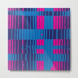 PinkBlue Stripes Metal Print