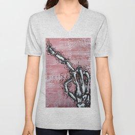 Sensitive Skelly hand Unisex V-Neck