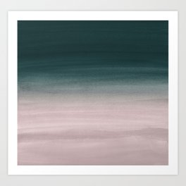 Touching Teal Blush Watercolor Abstract #1 #painting #decor #art #society6 Art Print