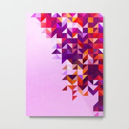 Colourful and Vibrant Geometric Nature on Ombre Pink Metal Print
