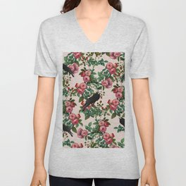 Roses With Crows Pattern Unisex V-Neck