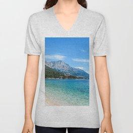 Blue Ocean Beach | Caribbean Island Clear Water Waves in Europe Mountain Landscape Beautiful Sky Unisex V-Neck