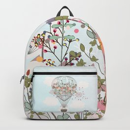 Air balloon with flowers and mountains. Fashion tripping illustration in vintage style Backpack