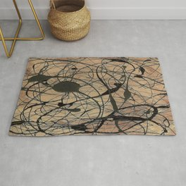 Pollock Inspired Abstract Black On Beige Corbin Art Contemporary Neutral Colors Rug