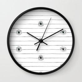 Striped eyeballs with full lashes Wall Clock