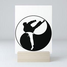 Taekwondo Kick design - Martial Art Yin Yang graphic Mini Art Print