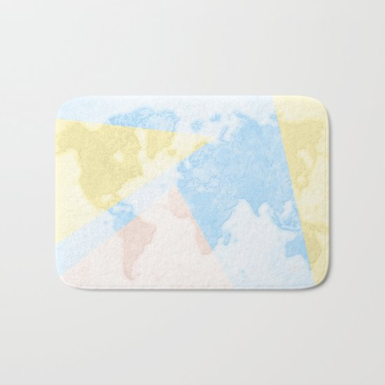 World Map Light Bath Mat