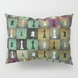 Paint and Print  Chessboard and Chess Pieces pattern Pillow Sham