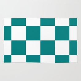Large Checkered - White and Dark Cyan Rug