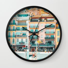 Cannes Downtown City Print, Cannes Skyline, Old Town French Riviera, Yachts And Boats, City Marina Port In France Wall Clock