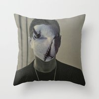 depeche mode Throw Pillows featuring Gahan ,  the  Depeche  Monster   by SZILVIO KOLLÁZS