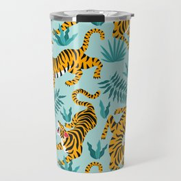 Asian tigers and tropic plants on background. Travel Mug