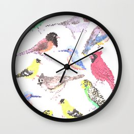 colorful birds stained glass art- budgie cardinal goldfinch titmouse kingfisher cedar waxwing juncos Wall Clock
