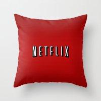 netflix Throw Pillows featuring Netflix Logo by TParish Productions