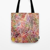 brussels Tote Bags featuring Brussels by MapMapMaps.Watercolors