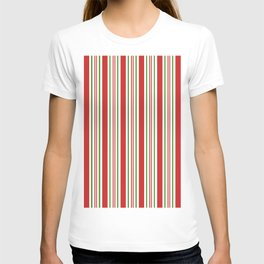 Red Green and White Candy Cane Stripes Thick and Thin Vertical Lines, Festive Christmas T-shirt