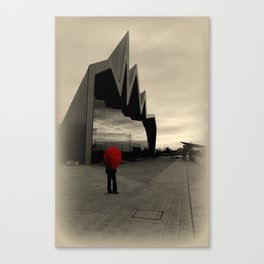 Lady with Red Umbrella at Riverside Museum Canvas Print