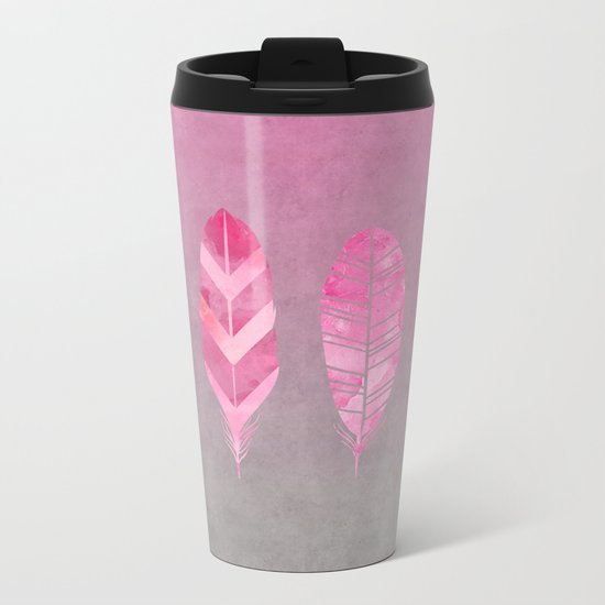 Feathers pink grunge watercolor art Metal Travel Mug