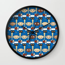 Baseball Blue and Orange - Super cute sports stars Wall Clock