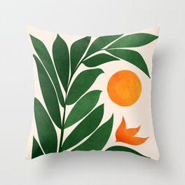 Tropical Forest Sunset / Mid Century Abstract Shapes Throw Pillow