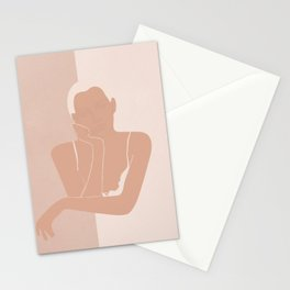 Minimal illustration of a Woman Stationery Cards