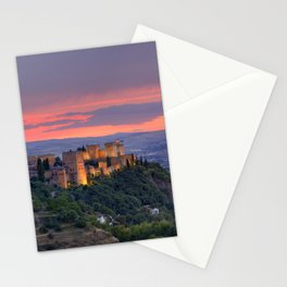 The alhambra and Granada city at sunset Stationery Cards