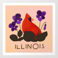 Illinois State Bird and Flower Art Print