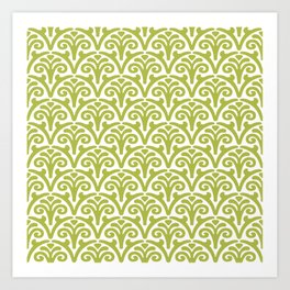 Floral Scallop Pattern Chartreuse Art Print