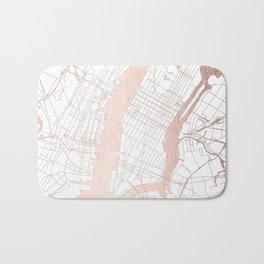 New York City White on Rosegold Street Map Bath Mat