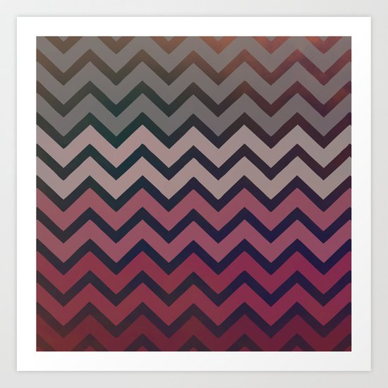 Pink Chevron Art Print