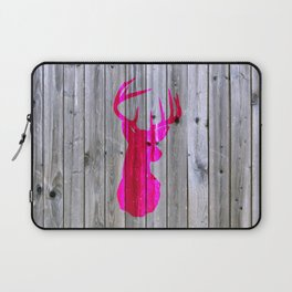 Bright Pink Hipster Vintage Deer Head Gray wood Laptop Sleeve