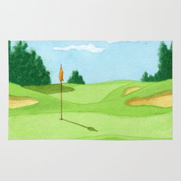 Golf Course Putting Green Watercolor Painting Rug