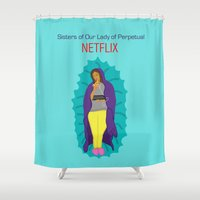 netflix Shower Curtains featuring Netflix Nuns by KatieBellProductions