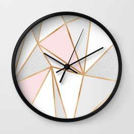 Pink, Grey & Gold Geo Wall Clock