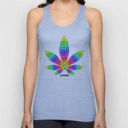 Rainbow Gems Cannabis Leaf (on White) Unisex Tank Top