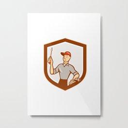 Electrician Screwdriver Plug Shield Cartoon Metal Print